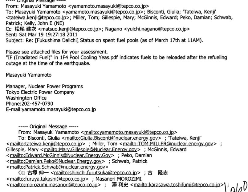 米政府「原発事故時の東電社員のフルネームとメールアドレスを公開したよー」